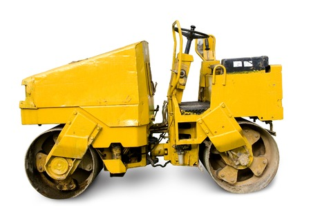 Road Roller isolated on a white background Stock Photo