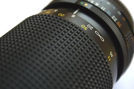 Close up on an analog camera lens. Stock Photo