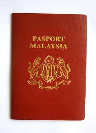 Close up on Malaysia Passport in isolated background. Stock Photo