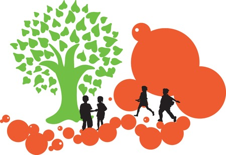 Graphic of children and tree to project a positive concept of happiness and Green.