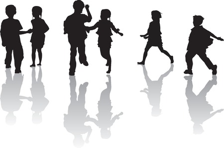 running woman: Three Silhouette movement of a pair of brother and sister while playing. Illustration