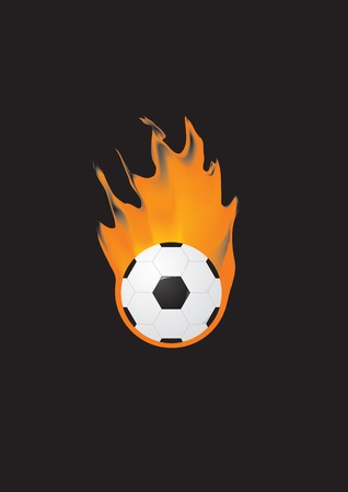 Illustrations of a Soccer ball on fire in vector. Vector
