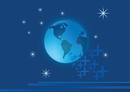 positive energy: Globe with positive energy and star background