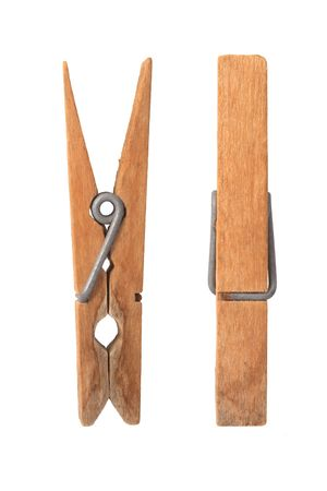 clamp: Old wooden clip on white background.