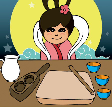 A cute little ancient Chinese girl preparing mooncake. Illustration