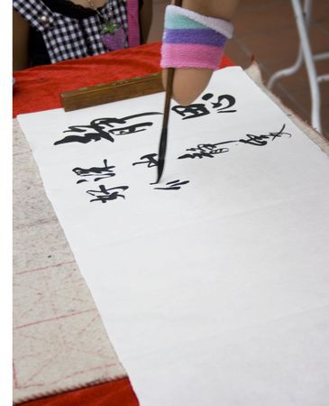 An artist without hand writing Chinese calligraphy. Stock Photo - 3788124
