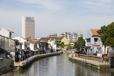riverside tree: A view on a river in Melaka City.