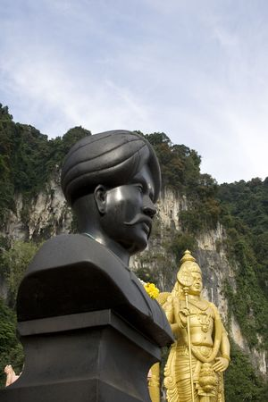 tourist spot: Statues at Batu Caves Malaysia, a religion and tourist spot.