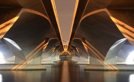 Image under a modern bridge taken from a futuristic angle Stock Photo