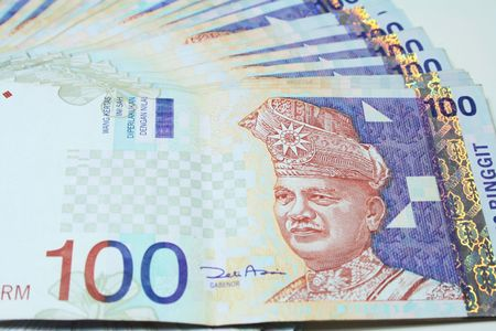Close up of RM100 Malaysia Notes. Stock Photo