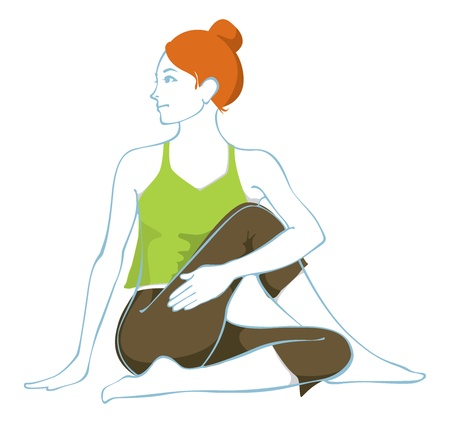 poise: Ardha matsyendrasana, una asana hatha yoga. Vectores