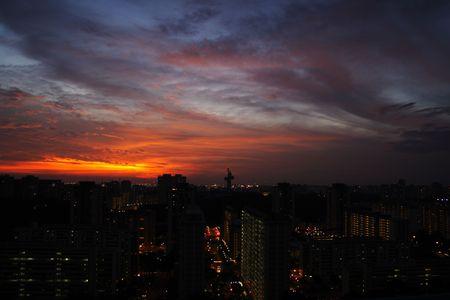 hdb: A sunset skyline in Singapore