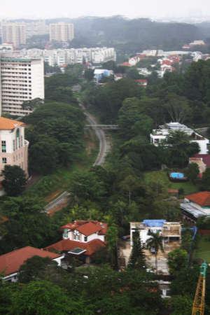 hdb: Railway pass thru a city. Stock Photo