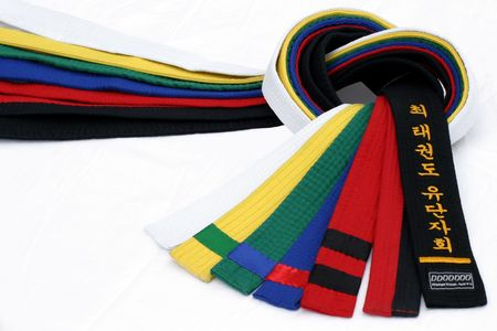 Martial Arts Belts 2 - From White Belt to Black belt Stock Photo