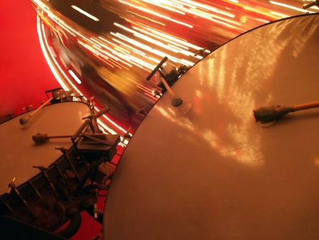lugs: Big Bass Drums with Merry-go-round - Tympani, or kettle drums - very large copperbrass drums. Stock Photo