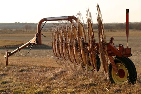 light duty: Wheel Rakes - profile  - SE Iowa sunset Stock Photo