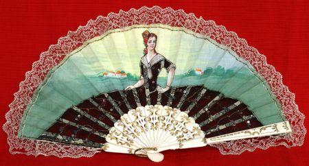 Fancy Fan - Handpainted on cotton fabric