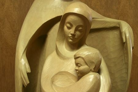 The Protector - close-up - Mary with  Jesus protected by young Joseph Stock Photo