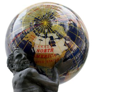 USA Globe - Atlas holding Americas weight - Reflections on a semi-precious stones globe.