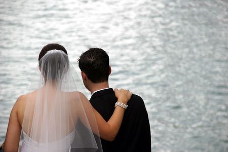 Bride and Groom - Newlyweds Great expectations Stock Photo