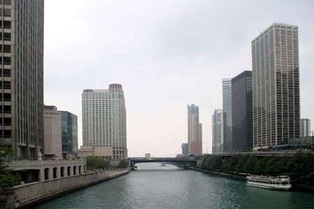 magnificent mile: Chicago - Skyscrapers and River - Along the Magnificent Mile on a cloudy day Stock Photo