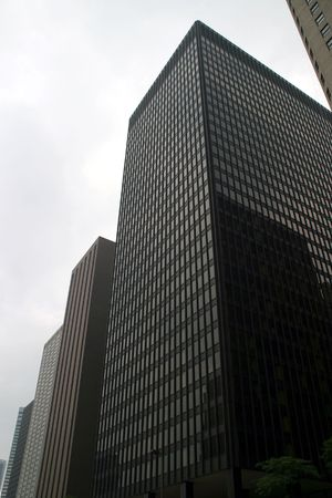 magnificent mile: Chicago - Skyscraper Row - Close to the Magnificent Mile on a cloudy day Stock Photo