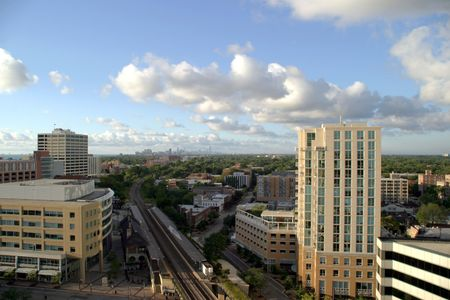Chicago on the Horizon - View from downtown Evanston photo