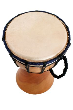 gamelan: Jambe Drum - top view - Balinese gamelan making mahogany wood drum Stock Photo