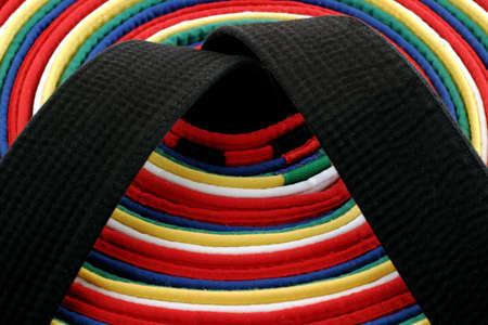 Martial Arts Belts - From White Belt to Black belt, circle arrangement Stock Photo