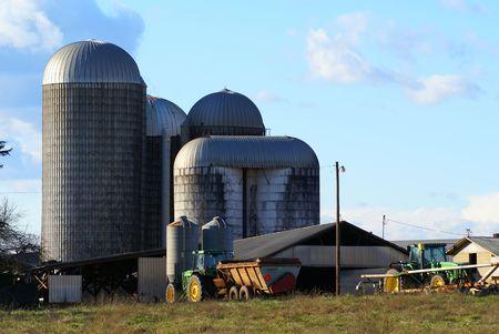 big bin: skyline of several silos at a farm in n.c.
