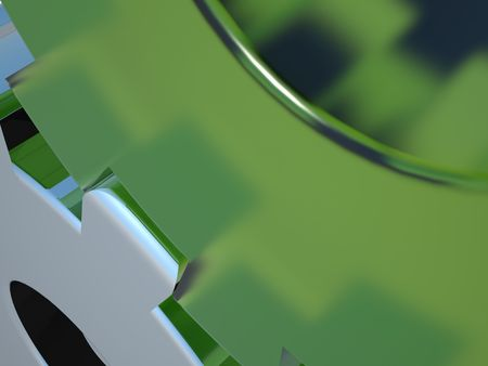 coherence: Close-up of 2 cogs - one made out of green glass and one out of chrome Stock Photo