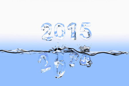 Water surface with the numbers 2014 splashing into water of 2015 and floating above the water surface. All the numbers appear <br> Examined as made of water. photo