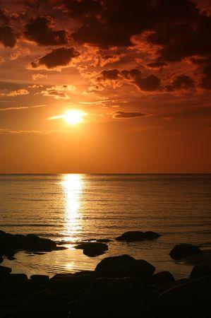 Sunset in Kurmrags, Latvia. photo