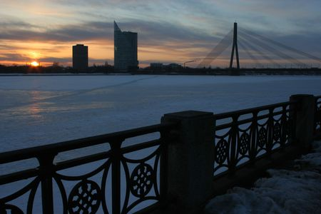 Sunset on Daugava river (Riga) Stock Photo