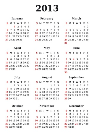 Calendar template for 2013 year Illustration