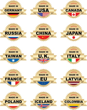 Labels 'Made In' with different countries Vector