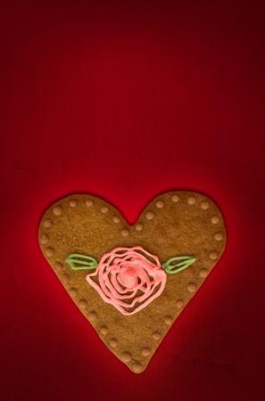 Valentine s day üdvözlőlap cookie piros háttér Stock fotó