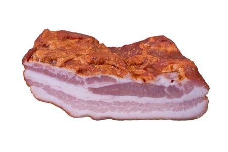 Smoked Bacon Isolated on White Background