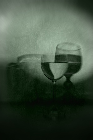 Green Grunge Background with Wineglasses and Beer Mug