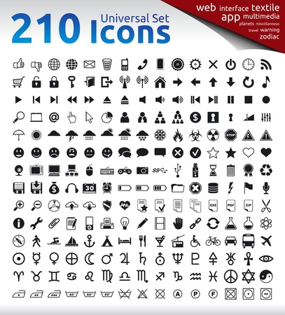 210 Universal Icons for Web, Multimedia, Applications, Textile Labels. Travel, Warning, Zodiac and Planet Signs. Stock Vector - 19424177