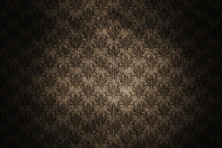 Dark Grunge Wall Background With Retro Pattern and Black Vignette