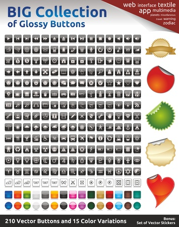 Huge Collection of Glossy Buttons  210 Black Buttons  15 Color Variations and 2 Styles - Rectangular and Round  5 Vector Stickers