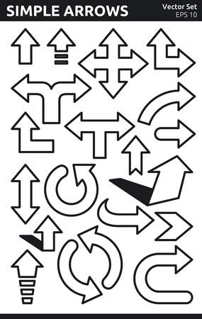 Egyszerű fekete-fehér nyilak Vector Set