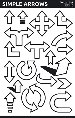 Simple Black and White Arrows Vector Set