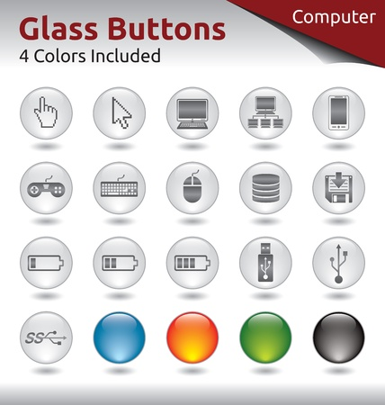 save button: Glass Buttons for Web and Application Usage, 4 Color Variations Included Illustration