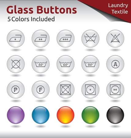 Glass Buttons for Web Usage, Laungry and Textile Signs, 5 Color Variations Included Stock Vector - 21134423