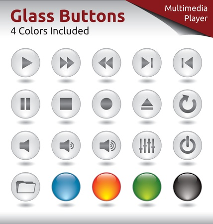 Glass Buttons for Web and Application Usage, Media Player, 4 Color Variations Included Vector