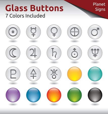 Glass Buttons for Web Usage, Planet Signs, 7 Color Variations Included