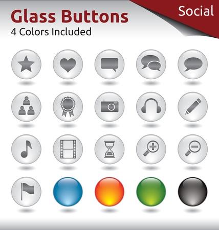 Üveg Gombok Web használata, Social Media, 4 színváltozatban tartalmazza Illusztráció