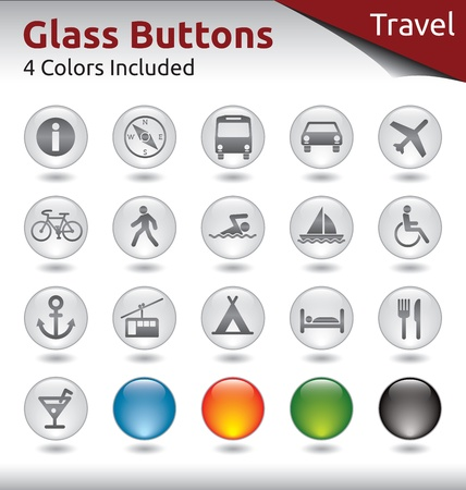 Glass Buttons for Web Usage, Travel and Holidays, 4 Color Variations Included Stock Vector - 21134431